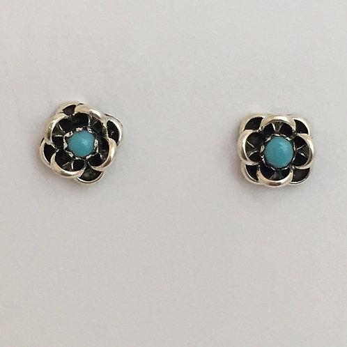 Turquoise Flower Post Earrings