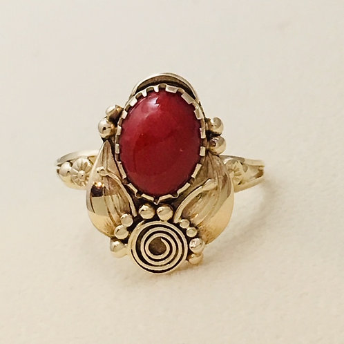 Navajo 14k Gold Coral Ring