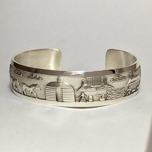 Navajo Sterling Silver Story Tell Cuff Bracelet