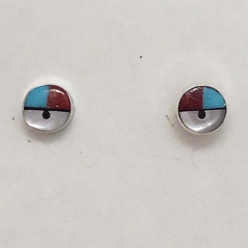 Zuni Sterling Silver Sunface Post Earrings