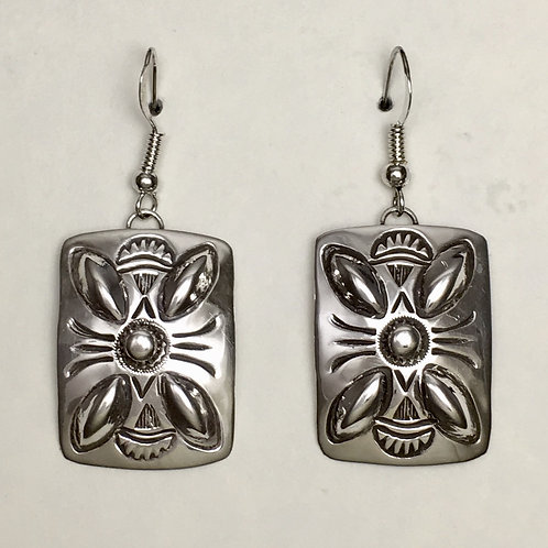 Navajo Sterling Silver Rectangle Repousse Hook Earrings