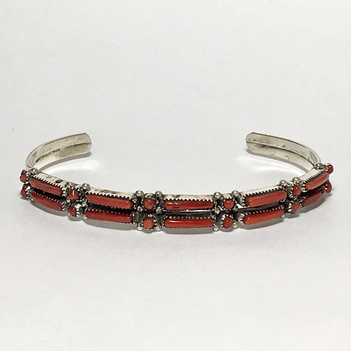 Zuni Sterling Silver Coral Stone Cuff Bracelet