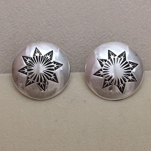 Navajo Sterling Silver Star Stamped Post Earrings