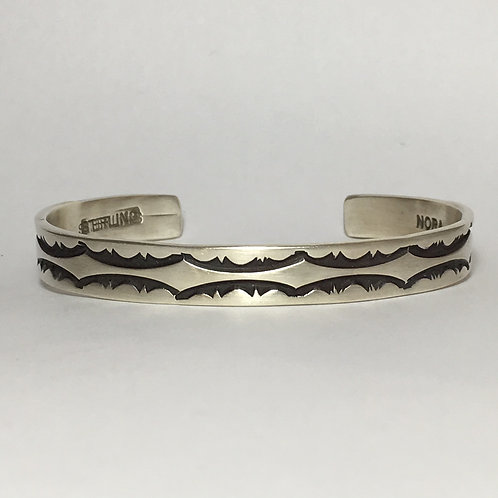 Navajo Sterling Silver Heavy Stamp Cuff Bracelet