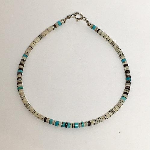 Navajo Grey Oyster Heishi Shell Turquoise Beaded Bracelet