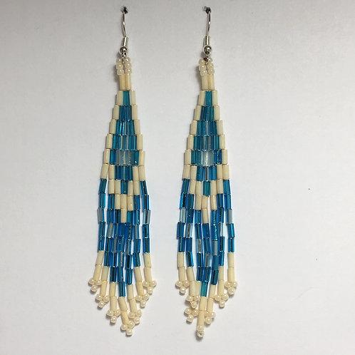 Light Blue Glass Beaded Earrings