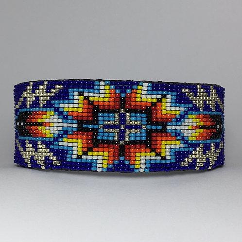 Navajo Native Beaded Royal Wide Cuff Bracelet