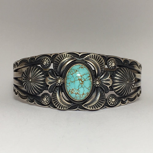 Navajo Sterling Silver Spiderweb Turquoise Cuff Bracelet