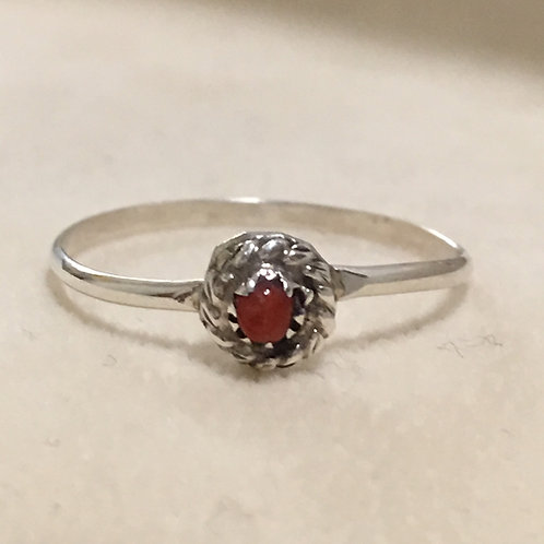 Navajo Sterling Silver Coral Ring