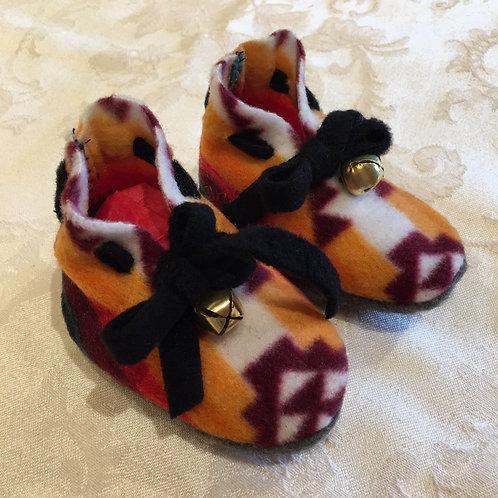 Navajo Handmade Orange Brown Pendleton Baby Booties Socks