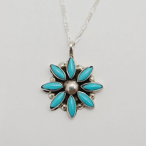 Zuni Sterling Silver Turquoise Flower Pendant
