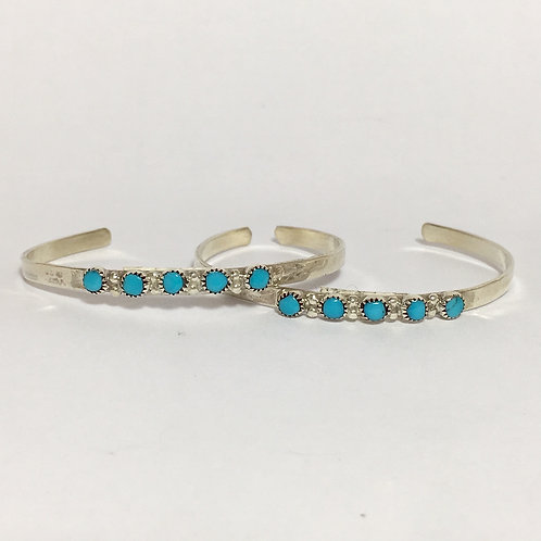 Navajo Sterling Silver Turquoise Cuff Baby Bracelet