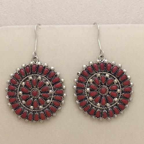 Zuni Coral Cluster Hook Earrings