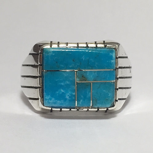 Zuni Sterling Silver Kingman Turquoise Inlay Ring