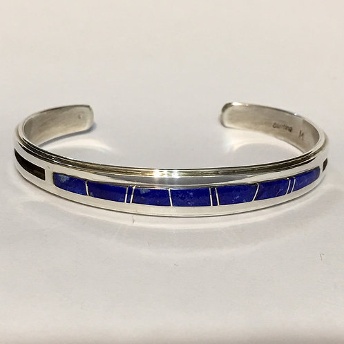 Navajo Sterling Silver Lapis Inlay Cuff Bracelet