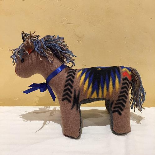 Navajo Handmade Tan Pendleton Horse Blu Collar