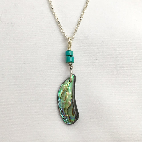 Navajo Sterling Silver Abalone Turquoise Pendant