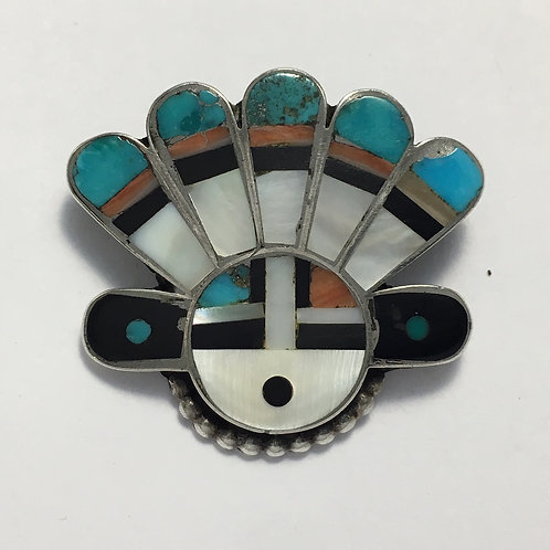 Zuni Sterling Silver Sunface Vintage Inlay Pin