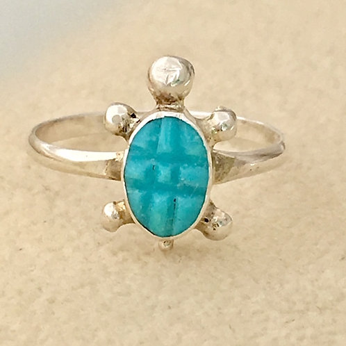 Zuni Sterling Silver Turquoise Turtle Ring