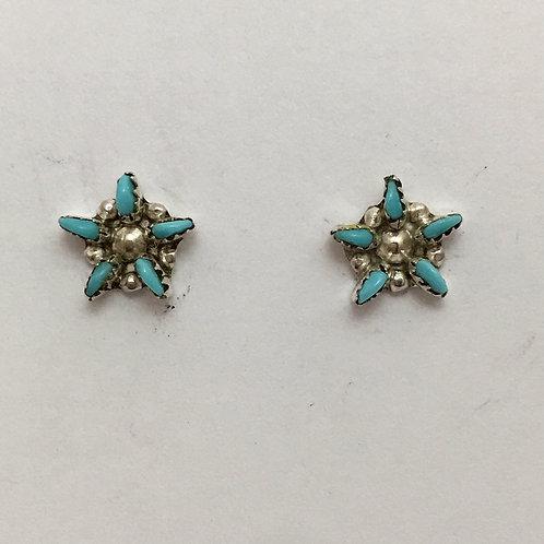 Turquoise Needlepoint Star Earrings