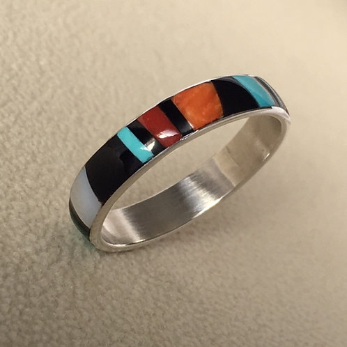 Zuni Sterling Silver Jet Turquoise Coral Ring