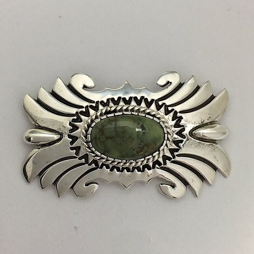 Navajo Sterling Silver Cario Lake Turquoise Pin Brooch L. Gene