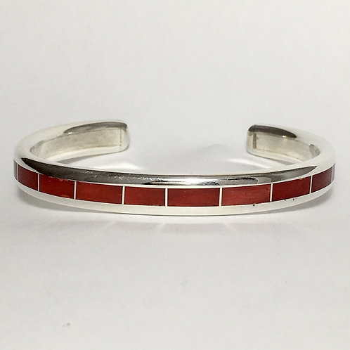 Zuni Sterling Silver Coral Inlay Cuff Bracelet