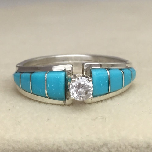 Zuni Sterling Silver Turquoise Inlay CZ Ring