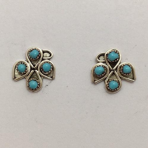 Turquoise Needlepoint Eagle Earrings