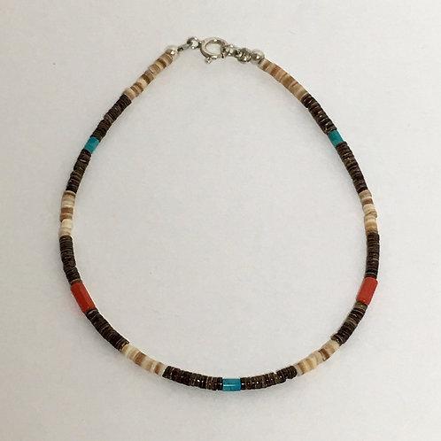 Navajo Olive Heishi Turquoise Coral Beaded Bracelet
