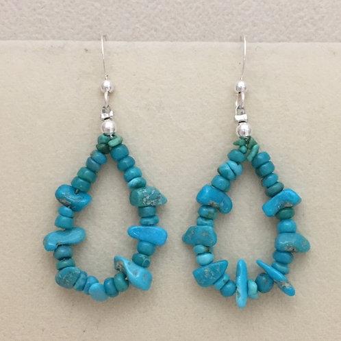 Navajo Sleeping Beauty Turquoise Hook Earring