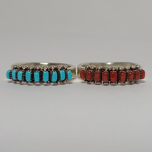 Zuni Turquoise/Coral Row Rings