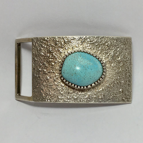 Navajo Sterling Silver Turquoise Tufa Cast Buckle