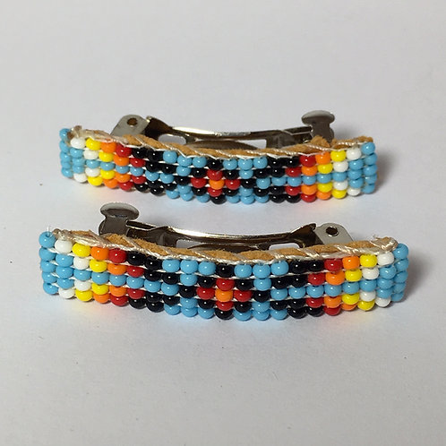 Navajo Handmade Blue Beaded Design Barrette Set