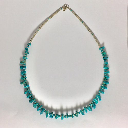 Navajo Single Strand Kingman Turquoise Heishi Necklace
