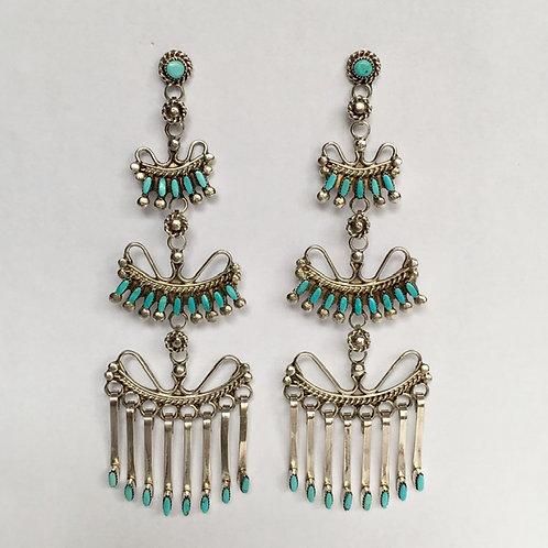 Zuni Sterling Silver Turquoise Chandelier Earrings