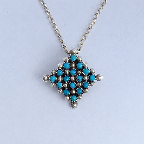 Zuni Sterling Silver Diamond Turquoise Cluster Pin Pendant