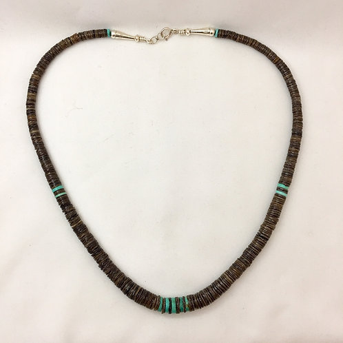 Navajo Single Strand Brown Shell Heishi Necklace