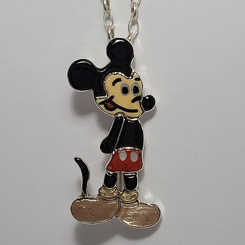Zuni Sterling Silver Mickey Inlay Pendant Pin