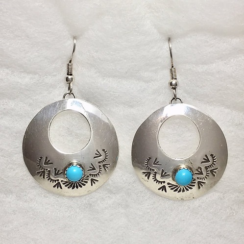 Sterling Silver Stamp Turquoise Hook Earrings