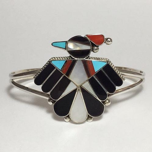 Zuni Sterling Silver Inlay Bird Cuff Bracelet