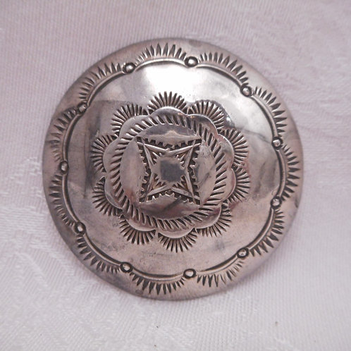 Sterling Silver Stamp Round Button