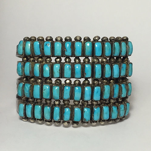Navajo Sterling Silver Turquoise Vintage Cuff Bracelet