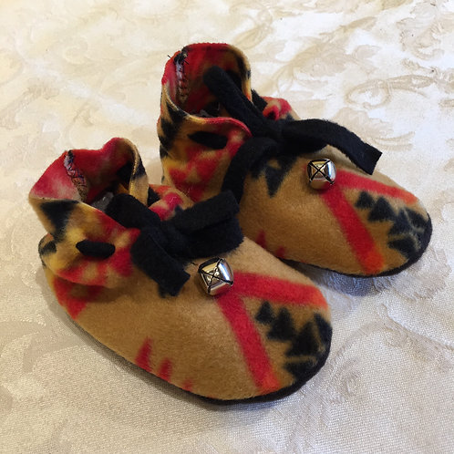 Navajo Handmade Tan Red Pendleton Baby Booties Socks