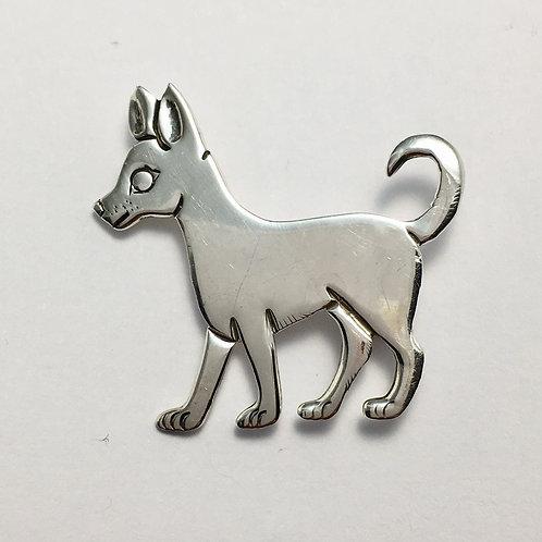 Navajo Sterling Silver Dog Pin