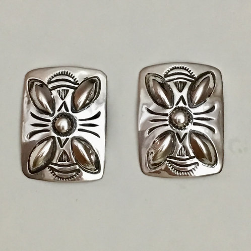 Navajo Sterling Silver Rectangle Repousse Post Earrings