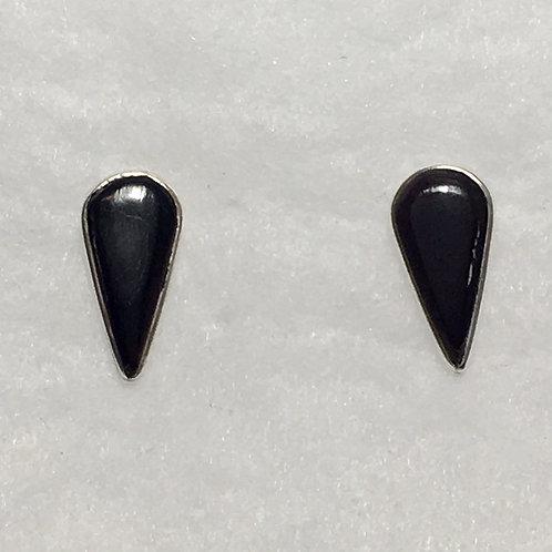 Sterling Silver Onyx Teardrop Post Earrings