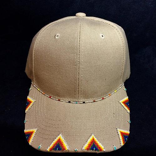 Navajo/Hopi Beaded Tan Cap Velcro