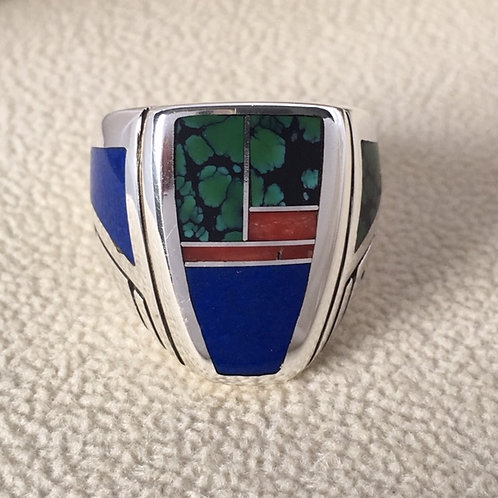 Navajo Sterling Silver Lapis Turquoise Ring