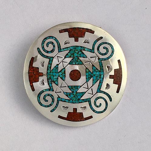 Navajo Sterling Silver 1970's Chip Inlay Vintage Pin